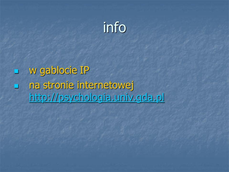 info w gablocie IP w gablocie IP na stronie internetowej http://psychologia.univ.gda.pl na stronie internetowej http://psychologia.univ.gda.pl http://