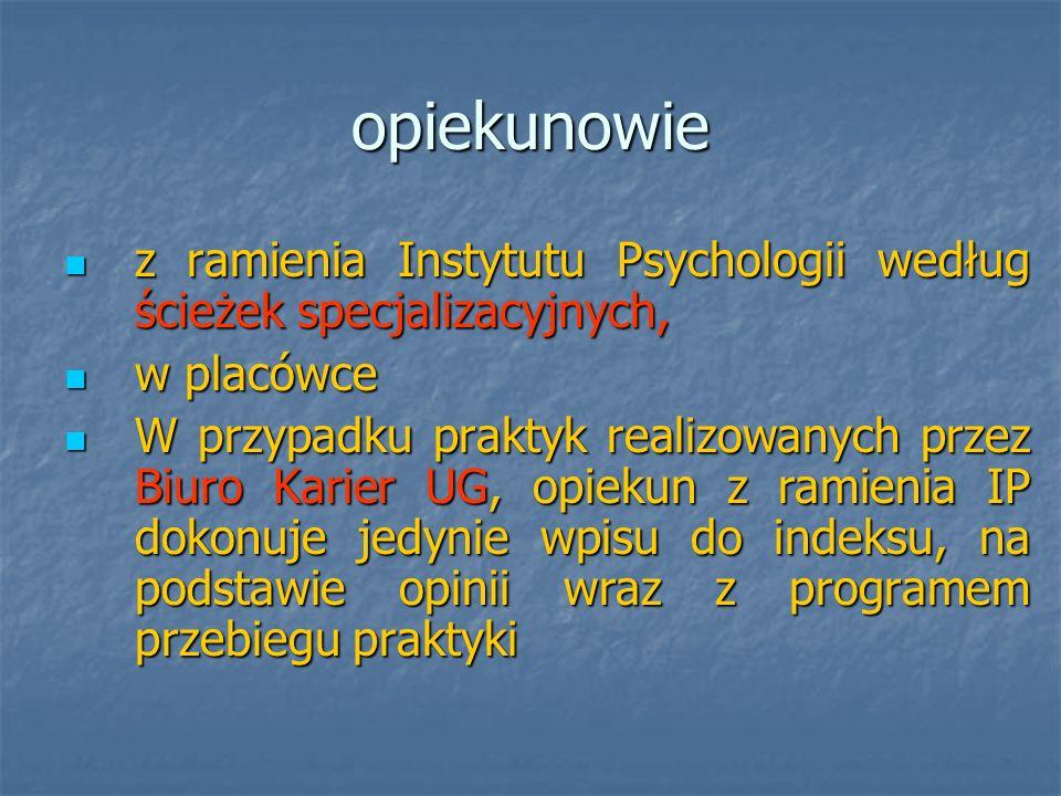 Opiekunowie praktyk: PK - mgr Joanna Kozaka joannakozaka@wp.pl joannakozaka@wp.pl zastępstwo mgr Ola Szulman - Wardel psyasw@univ.gda.pl psyasw@univ.gda.pl mgr Aleksandra Lewandowska-Walter psyalw@univ.gda.pl psyalw@univ.gda.pl PDiM mgr Monika Zielińska psymz@univ.gda.pl psymz@univ.gda.pl POiZ mgr Dorota Godlewska-Werner wnsdgw@univ.gda.pl wnsdgw@univ.gda.pl dr Zdzisław Nieckarz psyzn@univ.gda.pl dr Zdzisław Nieckarz psyzn@univ.gda.plpsyzn@univ.gda.pl PSiPSP dr Katarzyna Bojarska psykb@univ.gda.pl psykb@univ.gda.pl PRiPM dr Aneta Chybicka psyach@univ.gda.pl