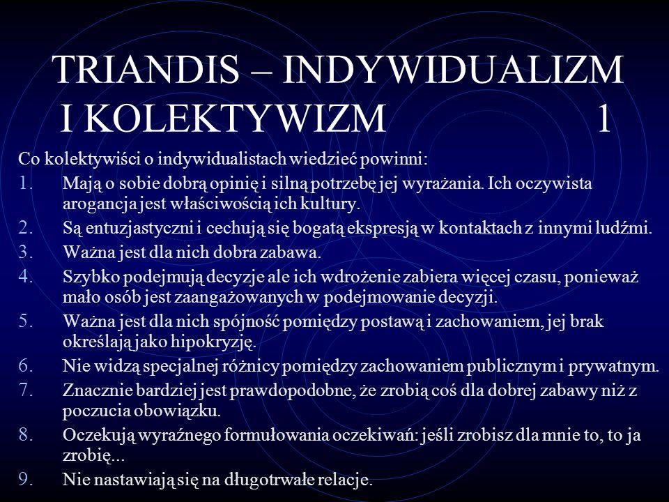 TRIANDIS – INDYWIDUALIZM I KOLEKTYWIZM 2 Co indywidualiści o kolektywistach wiedzieć powinni: 1.