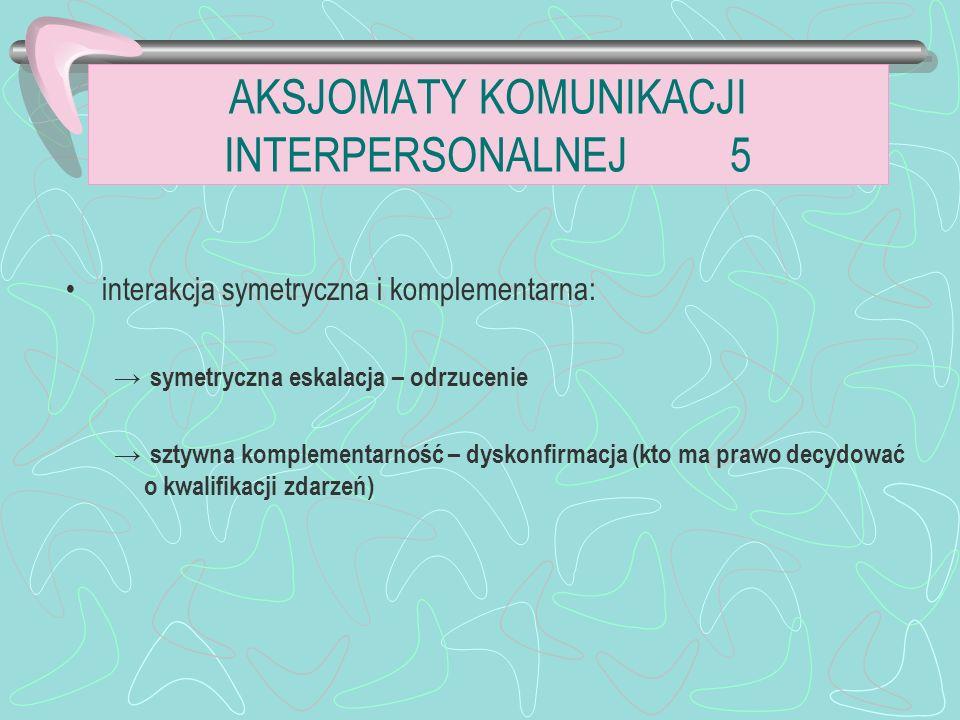 interakcja symetryczna i komplementarna: symetryczna eskalacja – odrzucenie sztywna komplementarność – dyskonfirmacja (kto ma prawo decydować o kwalifikacji zdarzeń) AKSJOMATY KOMUNIKACJI INTERPERSONALNEJ 5