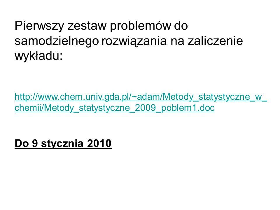 Pierwszy zestaw problemów do samodzielnego rozwiązania na zaliczenie wykładu: http://www.chem.univ.gda.pl/~adam/Metody_statystyczne_w_ chemii/Metody_statystyczne_2009_poblem1.doc Do 9 stycznia 2010