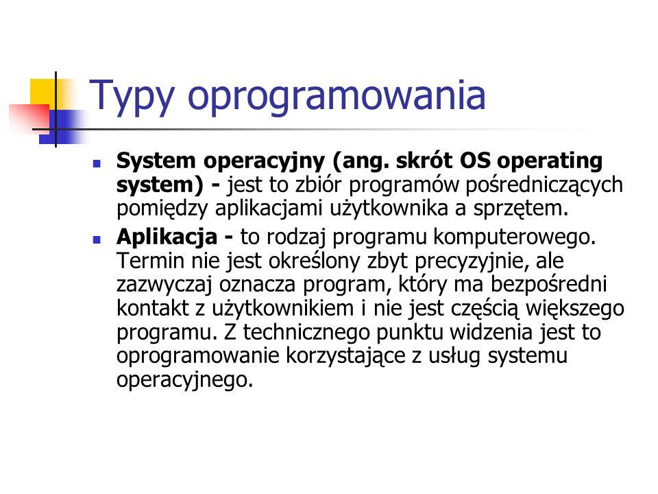 Typy oprogramowania System operacyjny (ang. skrót OS operating system) - jest to zbiór programów pośredniczących pomiędzy aplikacjami użytkownika a sp