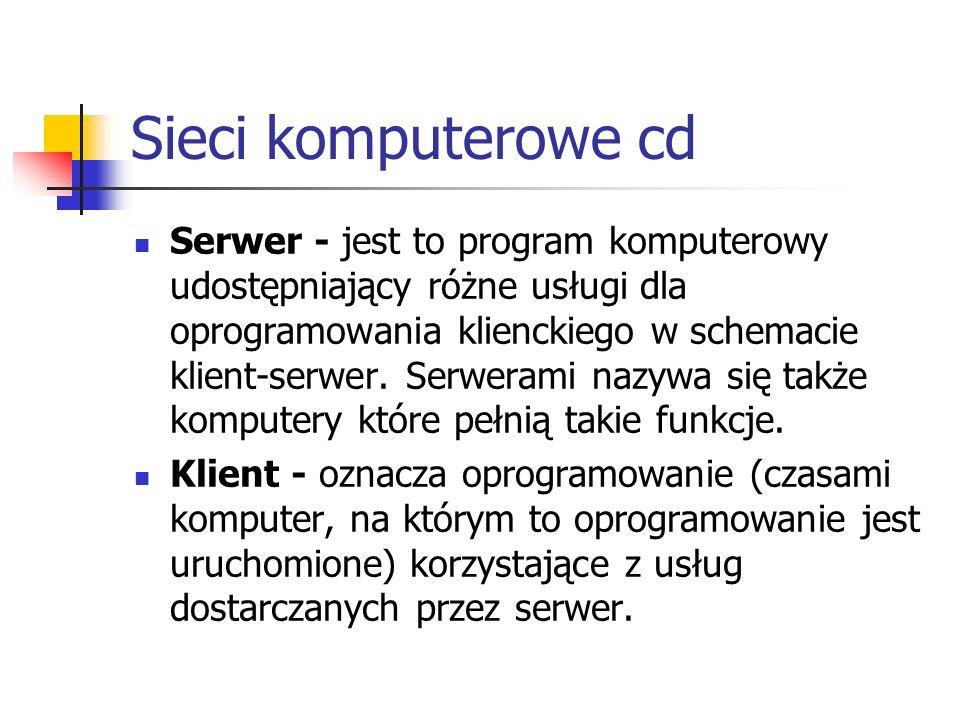 Sieci komputerowe cd Serwer - jest to program komputerowy udostępniający różne usługi dla oprogramowania klienckiego w schemacie klient-serwer. Serwer