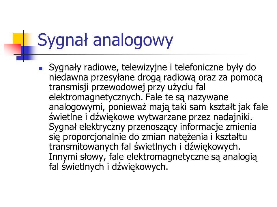 Sygnał analogowy Sygnały radiowe, telewizyjne i telefoniczne były do niedawna przesyłane drogą radiową oraz za pomocą transmisji przewodowej przy użyc