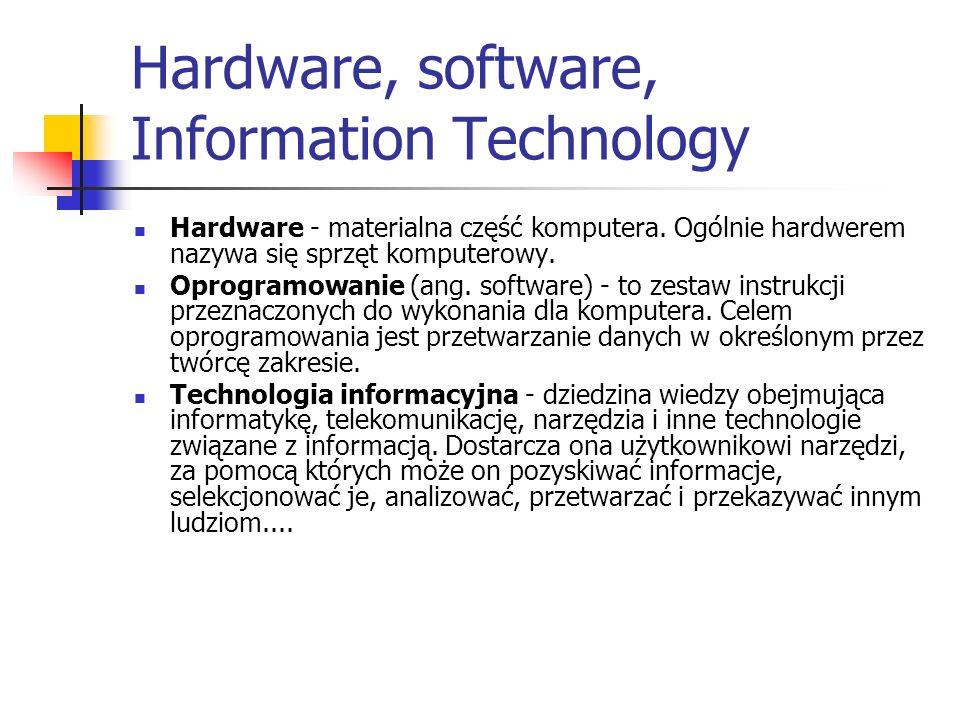 Hardware, software, Information Technology Hardware - materialna część komputera. Ogólnie hardwerem nazywa się sprzęt komputerowy. Oprogramowanie (ang