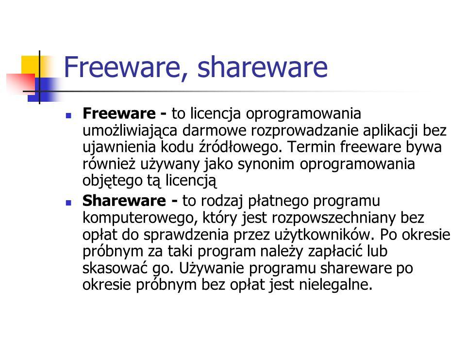 Freeware, shareware Freeware - to licencja oprogramowania umożliwiająca darmowe rozprowadzanie aplikacji bez ujawnienia kodu źródłowego. Termin freewa