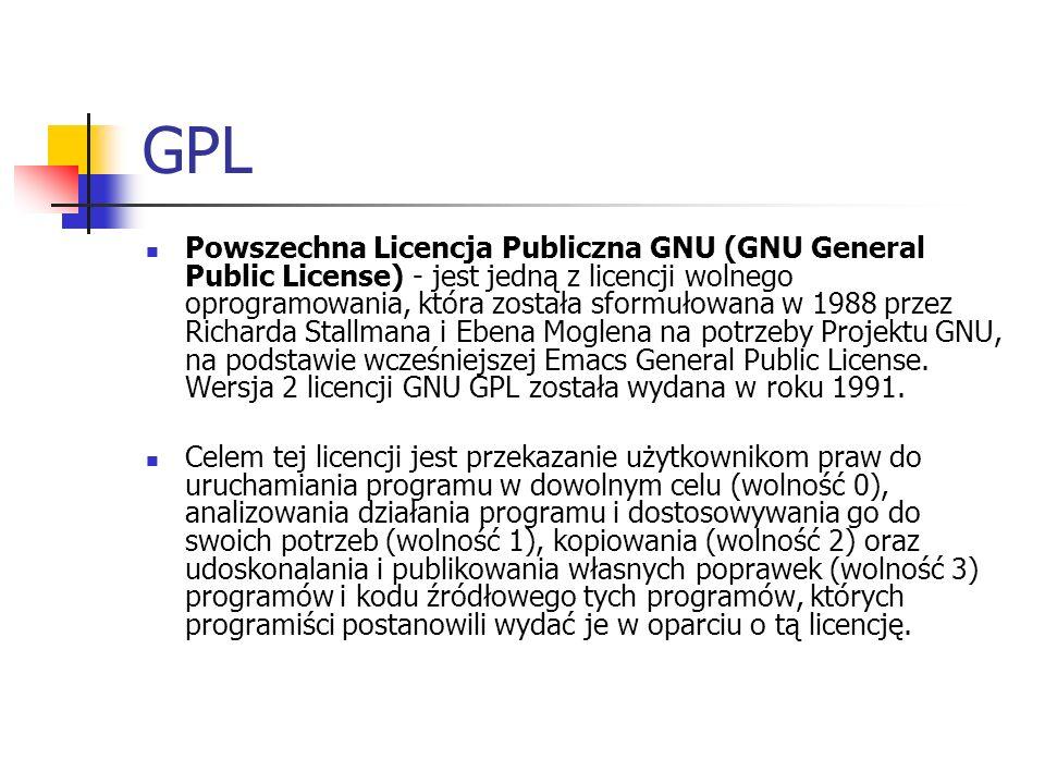 GPL Powszechna Licencja Publiczna GNU (GNU General Public License) - jest jedną z licencji wolnego oprogramowania, która została sformułowana w 1988 p