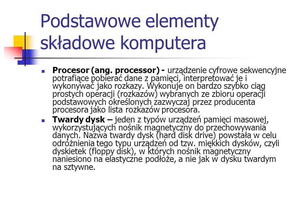 Podstawowe elementy składowe komputera cd Urządzenia wejścia - rozumiemy przez to urządzenia, za pomocą których możemy wprowadzić dane do komputera np.: myszka, klawiatura Urządzenia wyjścia - są to urządzenia, które dane przetworzone przez komputer, ukazują w zrozumiały dla nas sposób np.: monitor, drukarka