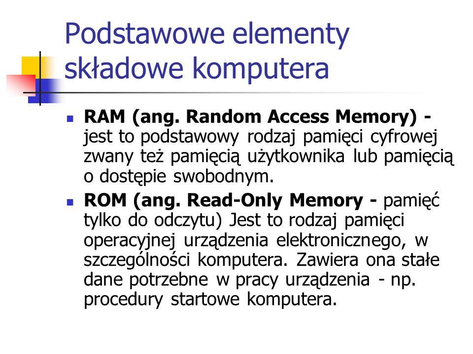Podstawowe elementy składowe komputera RAM (ang. Random Access Memory) - jest to podstawowy rodzaj pamięci cyfrowej zwany też pamięcią użytkownika lub
