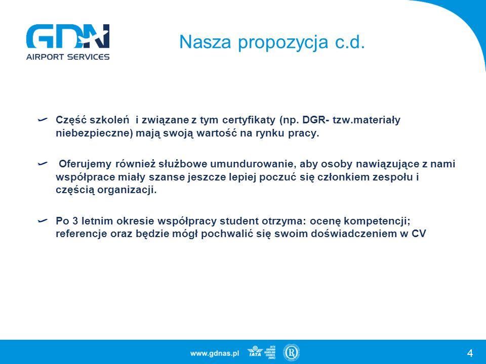 4 Nasza propozycja c.d. Część szkoleń i związane z tym certyfikaty (np. DGR- tzw.materiały niebezpieczne) mają swoją wartość na rynku pracy. Oferujemy
