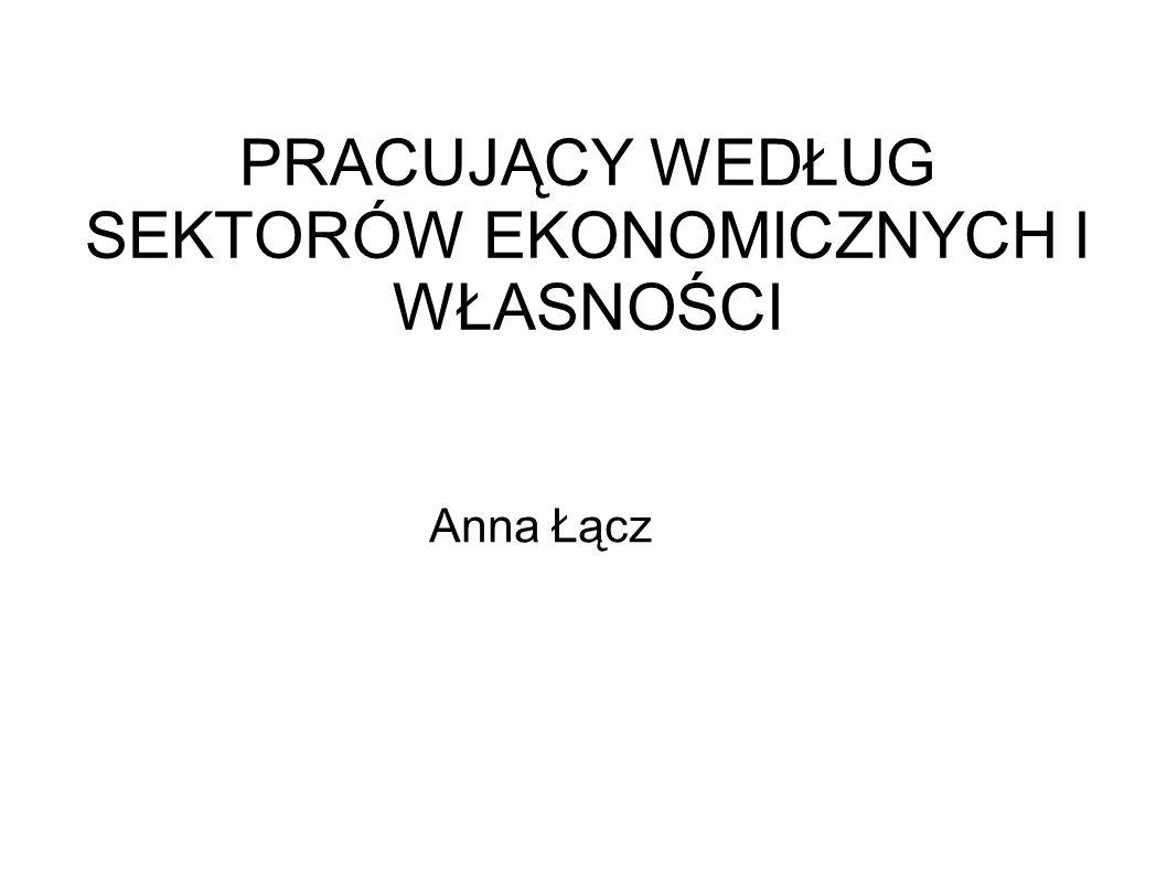 PRACUJĄCY WEDŁUG SEKTORÓW EKONOMICZNYCH I WŁASNOŚCI Anna Łącz