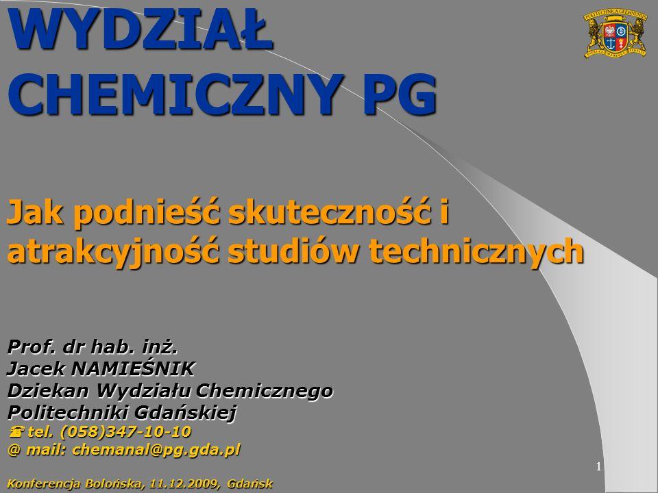 1 WYDZIAŁ CHEMICZNY PG Jak podnieść skuteczność i atrakcyjność studiów technicznych Prof.