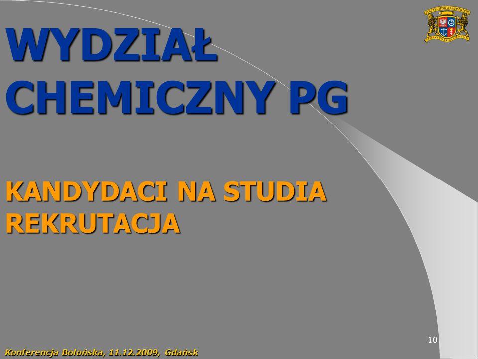 10 WYDZIAŁ CHEMICZNY PG KANDYDACI NA STUDIA REKRUTACJA Konferencja Bolońska, 11.12.2009, Gdańsk