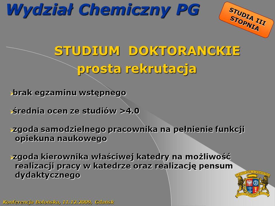 22 Wydział Chemiczny PG STUDIUM DOKTORANCKIE STUDIUM DOKTORANCKIE prosta rekrutacja Konferencja Bolońska, 11.12.2009, Gdańsk STUDIA III STOPNIA brak e