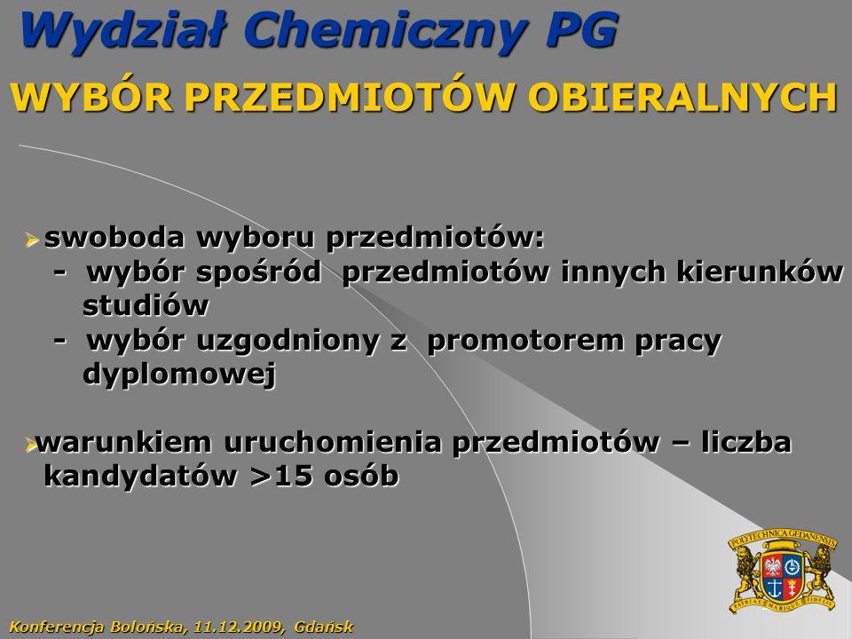 33 Wydział Chemiczny PG WYBÓR PRZEDMIOTÓW OBIERALNYCH Konferencja Bolońska, 11.12.2009, Gdańsk swoboda wyboru przedmiotów: swoboda wyboru przedmiotów: