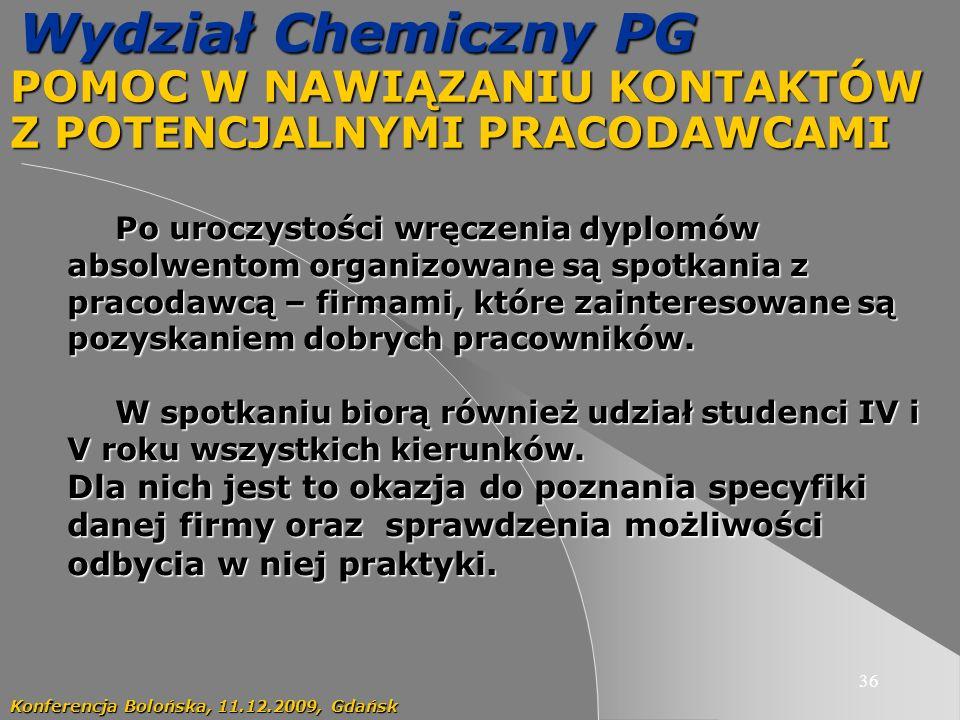 36 Wydział Chemiczny PG POMOC W NAWIĄZANIU KONTAKTÓW Z POTENCJALNYMI PRACODAWCAMI Konferencja Bolońska, 11.12.2009, Gdańsk Po uroczystości wręczenia dyplomów absolwentom organizowane są spotkania z pracodawcą – firmami, które zainteresowane są pozyskaniem dobrych pracowników.