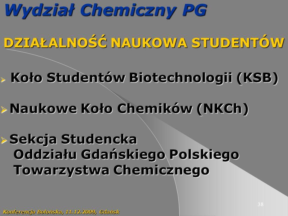 38 Wydział Chemiczny PG DZIAŁALNOŚĆ NAUKOWA STUDENTÓW Konferencja Bolońska, 11.12.2009, Gdańsk Koło Studentów Biotechnologii (KSB) Koło Studentów Biot