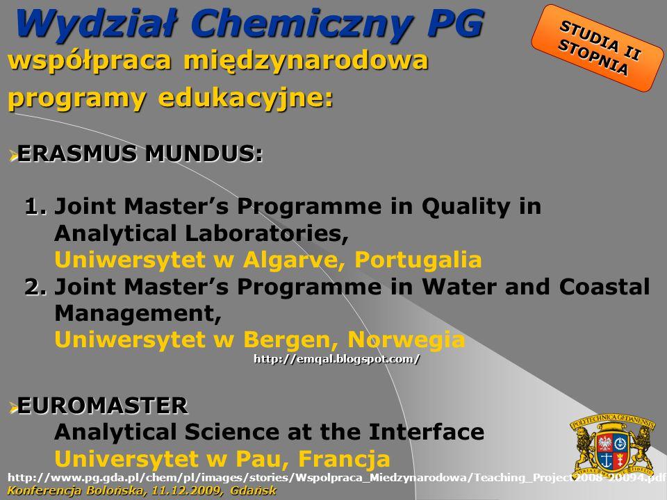 45 Wydział Chemiczny PG współpraca międzynarodowa programy edukacyjne: Konferencja Bolońska, 11.12.2009, Gdańsk ERASMUS MUNDUS: ERASMUS MUNDUS: 1.