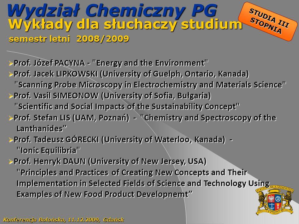 53 Wydział Chemiczny PG Wykłady dla słuchaczy studium Wykłady dla słuchaczy studium semestr letni 2008/2009 semestr letni 2008/2009 Konferencja Bolońs