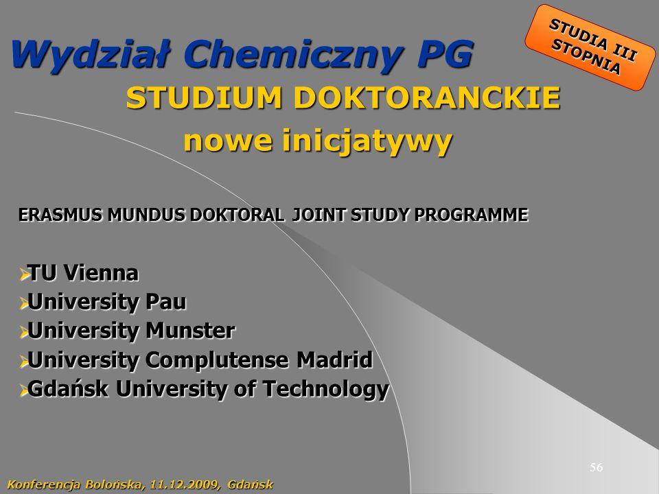 56 Wydział Chemiczny PG STUDIUM DOKTORANCKIE STUDIUM DOKTORANCKIE nowe inicjatywy Konferencja Bolońska, 11.12.2009, Gdańsk STUDIA III STOPNIA ERASMUS