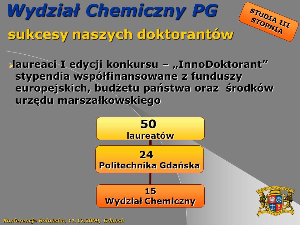 57 STUDIA III STOPNIA Wydział Chemiczny PG sukcesy naszych doktorantów sukcesy naszych doktorantów Konferencja Bolońska, 11.12.2009, Gdańsk laureaci I