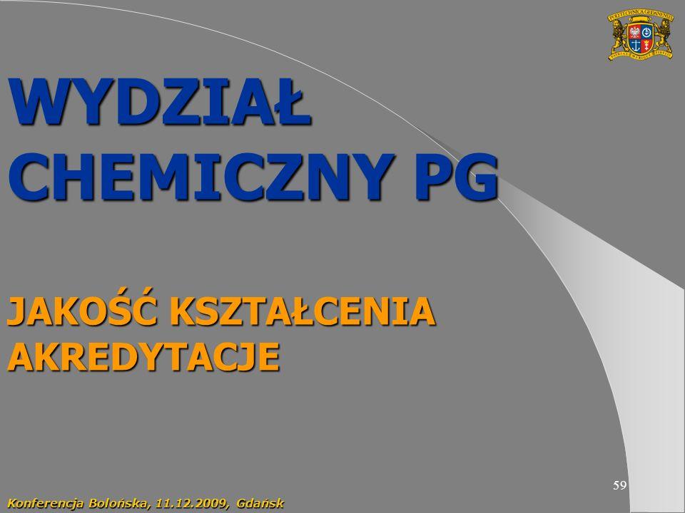59 WYDZIAŁ CHEMICZNY PG JAKOŚĆ KSZTAŁCENIA AKREDYTACJE Konferencja Bolońska, 11.12.2009, Gdańsk