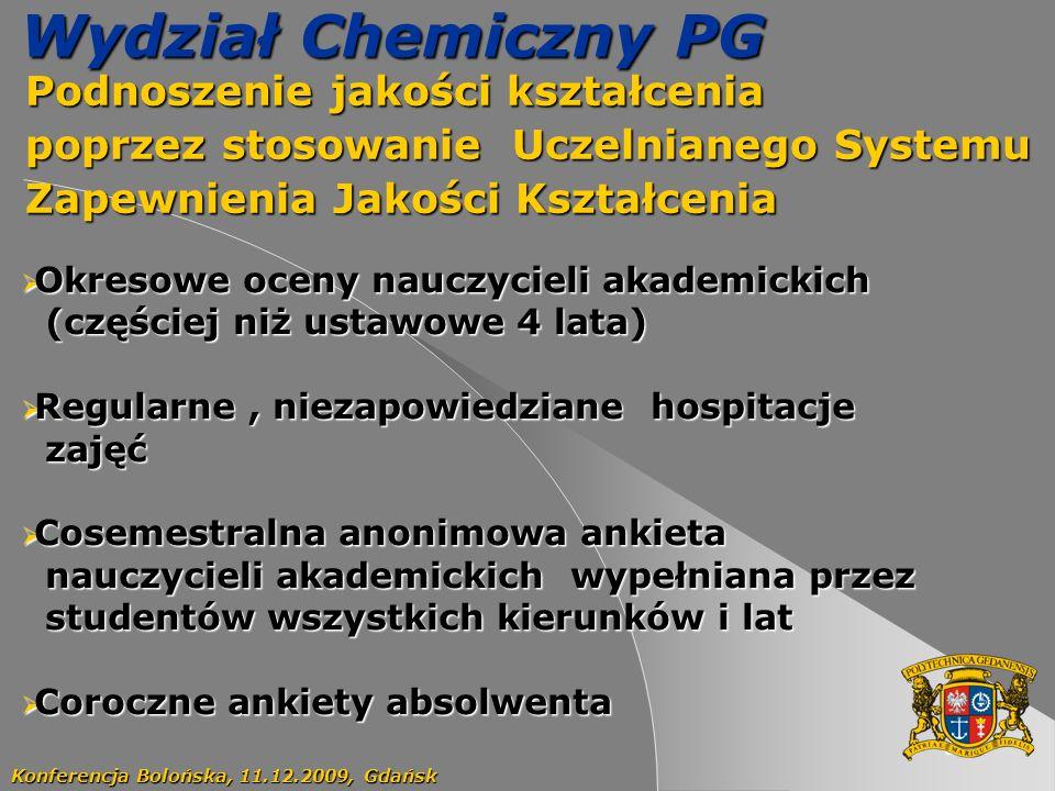 61 Wydział Chemiczny PG Podnoszenie jakości kształcenia Podnoszenie jakości kształcenia poprzez stosowanie Uczelnianego Systemu poprzez stosowanie Uczelnianego Systemu Zapewnienia Jakości Kształcenia Zapewnienia Jakości Kształcenia Konferencja Bolońska, 11.12.2009, Gdańsk Okresowe oceny nauczycieli akademickich Okresowe oceny nauczycieli akademickich (częściej niż ustawowe 4 lata) (częściej niż ustawowe 4 lata) Regularne, niezapowiedziane hospitacje Regularne, niezapowiedziane hospitacje zajęć zajęć Cosemestralna anonimowa ankieta Cosemestralna anonimowa ankieta nauczycieli akademickich wypełniana przez nauczycieli akademickich wypełniana przez studentów wszystkich kierunków i lat studentów wszystkich kierunków i lat Coroczne ankiety absolwenta Coroczne ankiety absolwenta