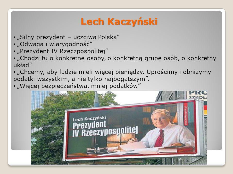 Lech Kaczyński Silny prezydent – uczciwa Polska Odwaga i wiarygodność Prezydent IV Rzeczpospolitej Chodzi tu o konkretne osoby, o konkretną grupę osób