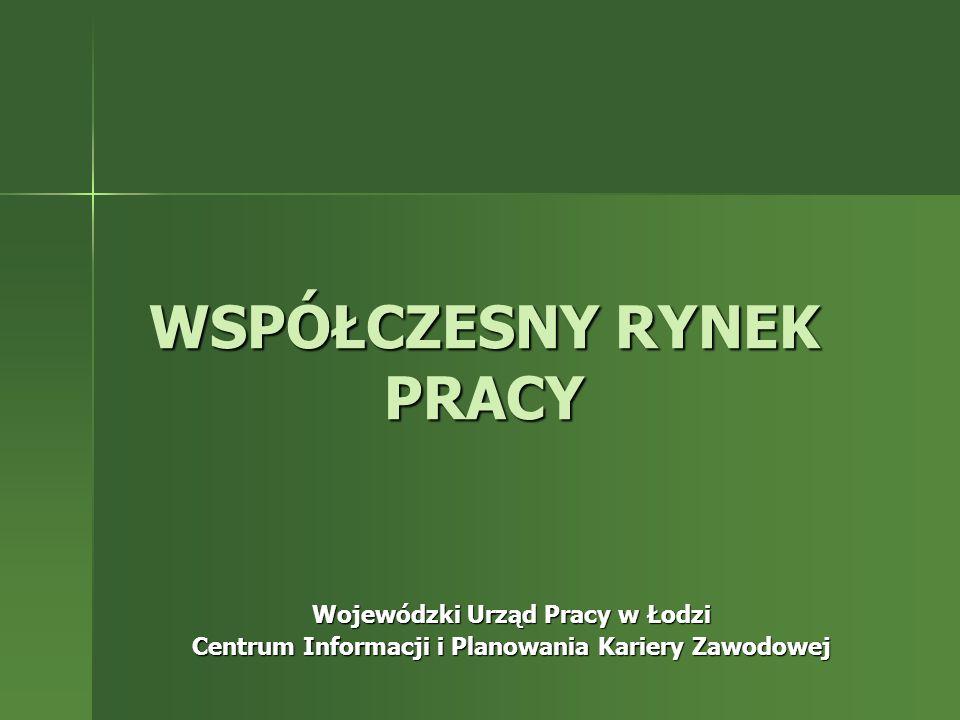 WSPÓŁCZESNY RYNEK PRACY Wojewódzki Urząd Pracy w Łodzi Centrum Informacji i Planowania Kariery Zawodowej