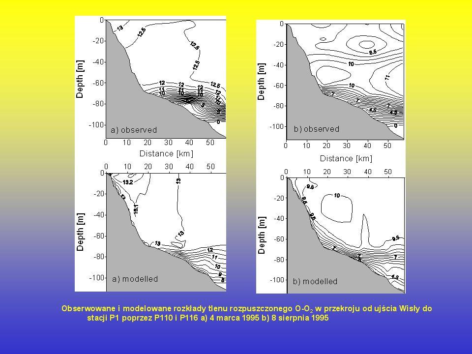 Przebieg zmienności obserwowanych i modelowanych parametrów fizyko–chemicznych: azotanów N-NO3, amoniaku N-NH 4, fosforanów P-PO 4, krzemianów Si-SiO 4, tlenu rozpuszczonego O-O 2, temperatury wody T w na Głębi Gdańskiej (stacja P1 z = 100 m) w okresie 1994 – 2000