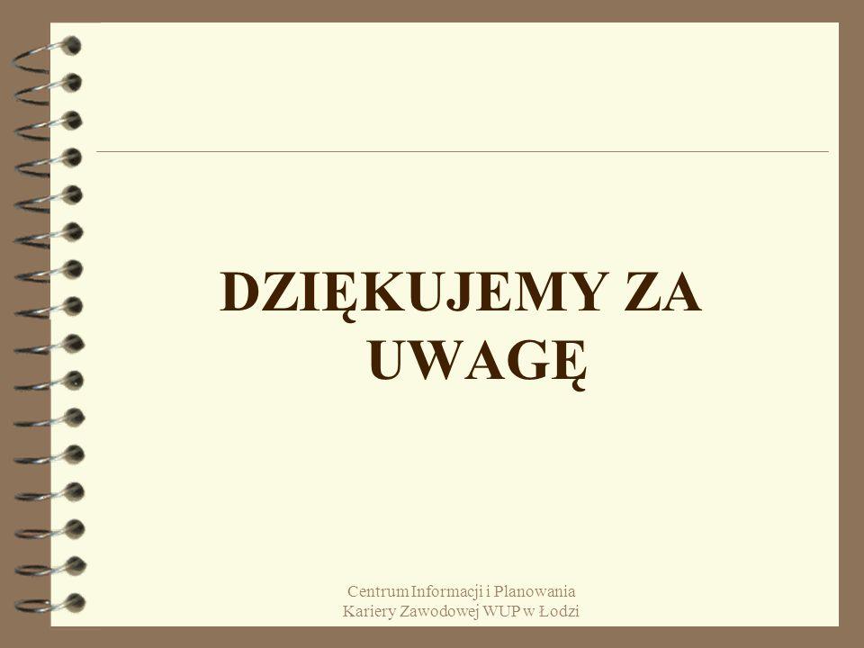 Centrum Informacji i Planowania Kariery Zawodowej WUP w Łodzi DZIĘKUJEMY ZA UWAGĘ