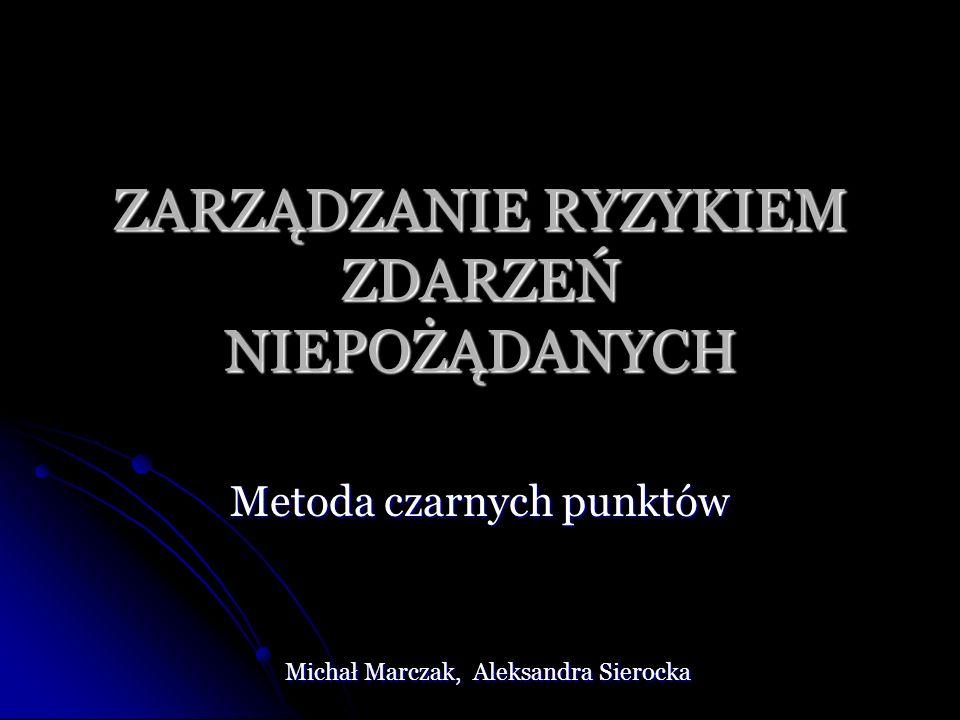 ZARZĄDZANIE RYZYKIEM ZDARZEŃ NIEPOŻĄDANYCH Metoda czarnych punktów Michał Marczak, Aleksandra Sierocka