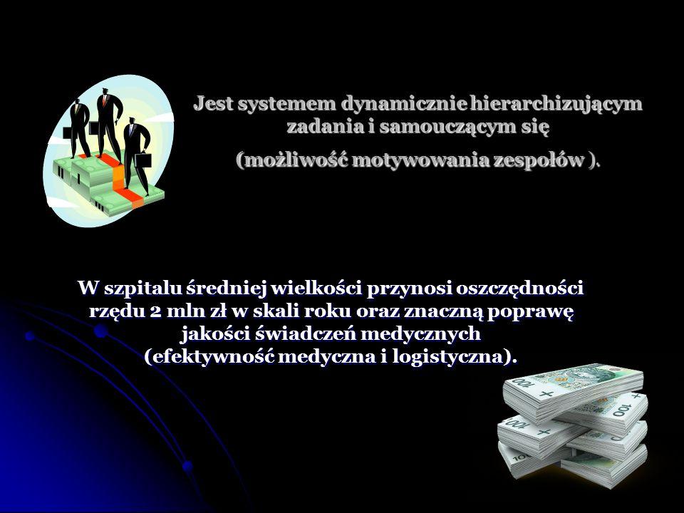 Jest systemem dynamicznie hierarchizującym zadania i samouczącym się (możliwość motywowania zespołów ). W szpitalu średniej wielkości przynosi oszczęd