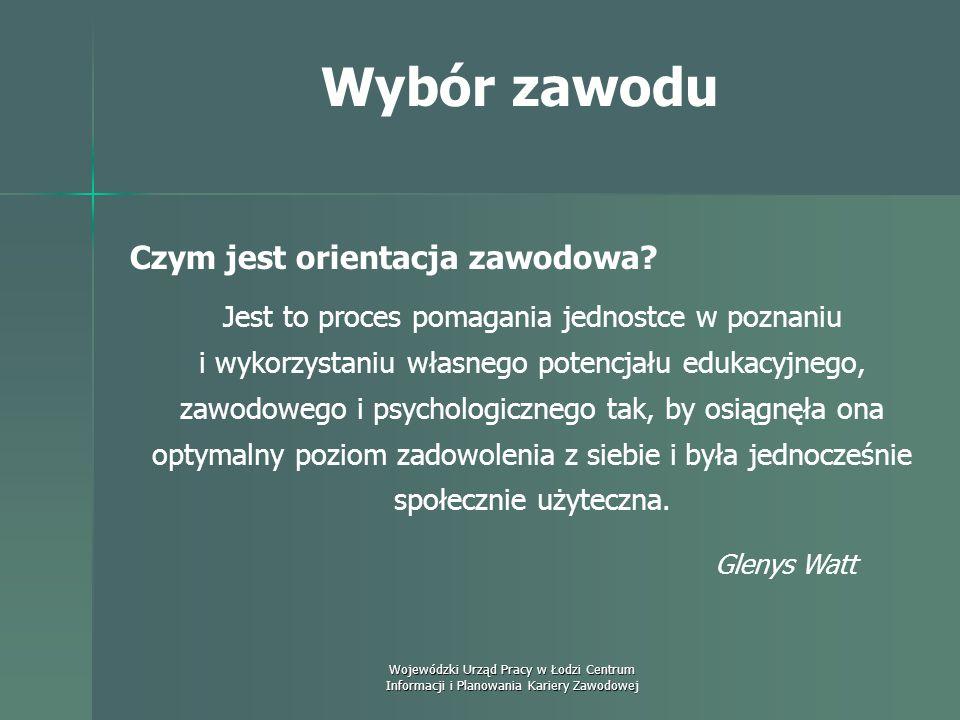 Wojewódzki Urząd Pracy w Łodzi Centrum Informacji i Planowania Kariery Zawodowej Wybór zawodu Poradnictwo zawodowe ma charakter relacyjny i zachodzi p