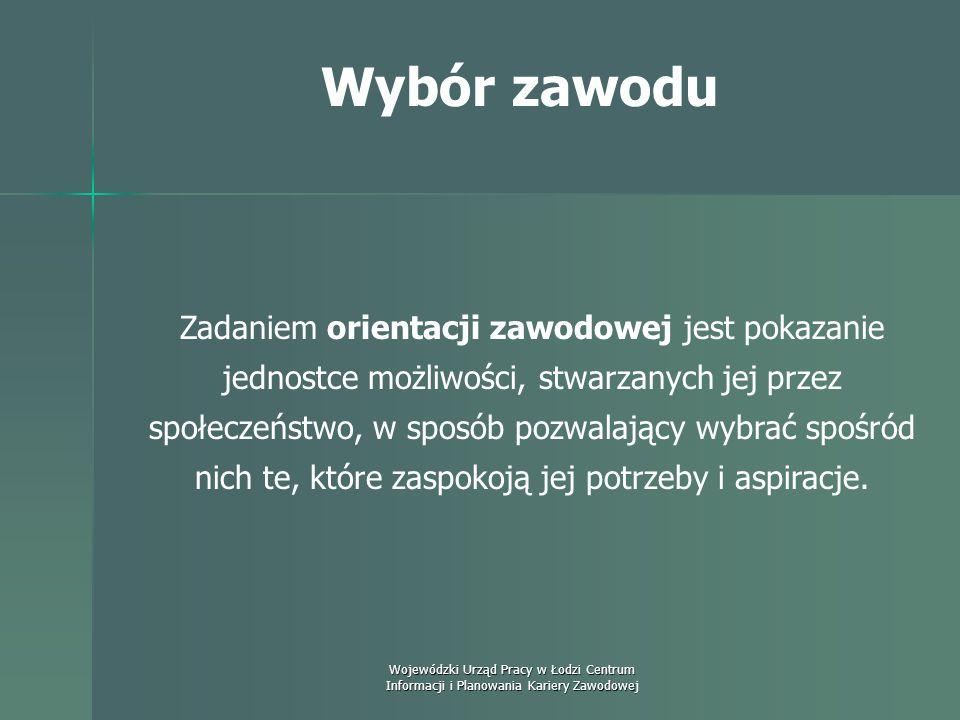 Wojewódzki Urząd Pracy w Łodzi Centrum Informacji i Planowania Kariery Zawodowej Wybór zawodu Czym jest orientacja zawodowa? Jest to proces pomagania