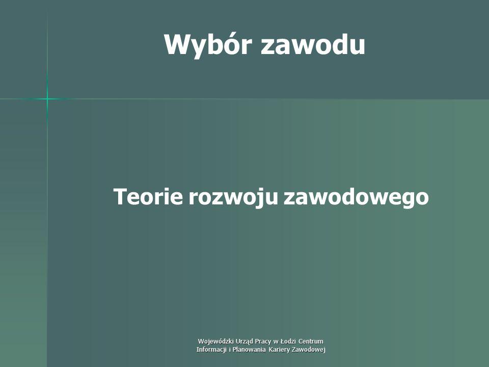 Wojewódzki Urząd Pracy w Łodzi Centrum Informacji i Planowania Kariery Zawodowej Wybór zawodu Zadaniem orientacji zawodowej jest pokazanie jednostce m
