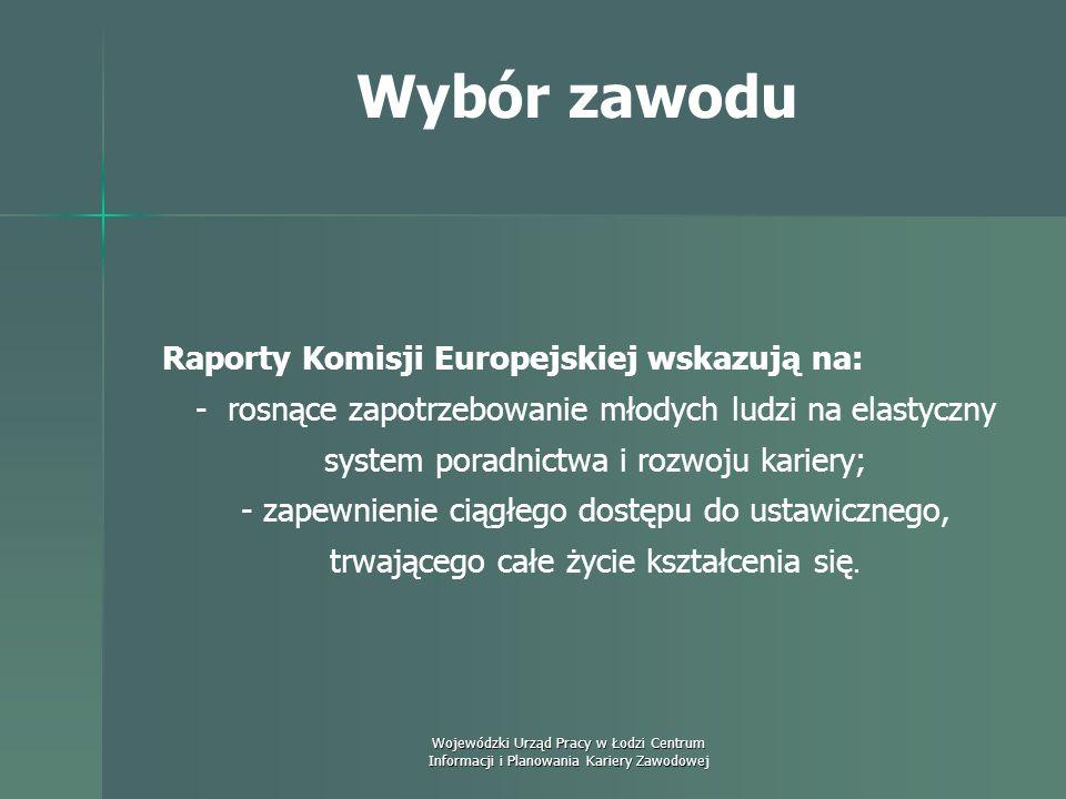 Wojewódzki Urząd Pracy w Łodzi Centrum Informacji i Planowania Kariery Zawodowej Wybór zawodu Poradnictwo zawodowe czy doradztwo kariery