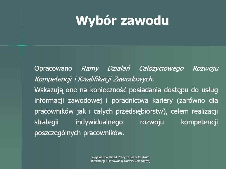 Wojewódzki Urząd Pracy w Łodzi Centrum Informacji i Planowania Kariery Zawodowej Wybór zawodu Raporty wskazują poradnictwo zawodowe jako jedno z czter