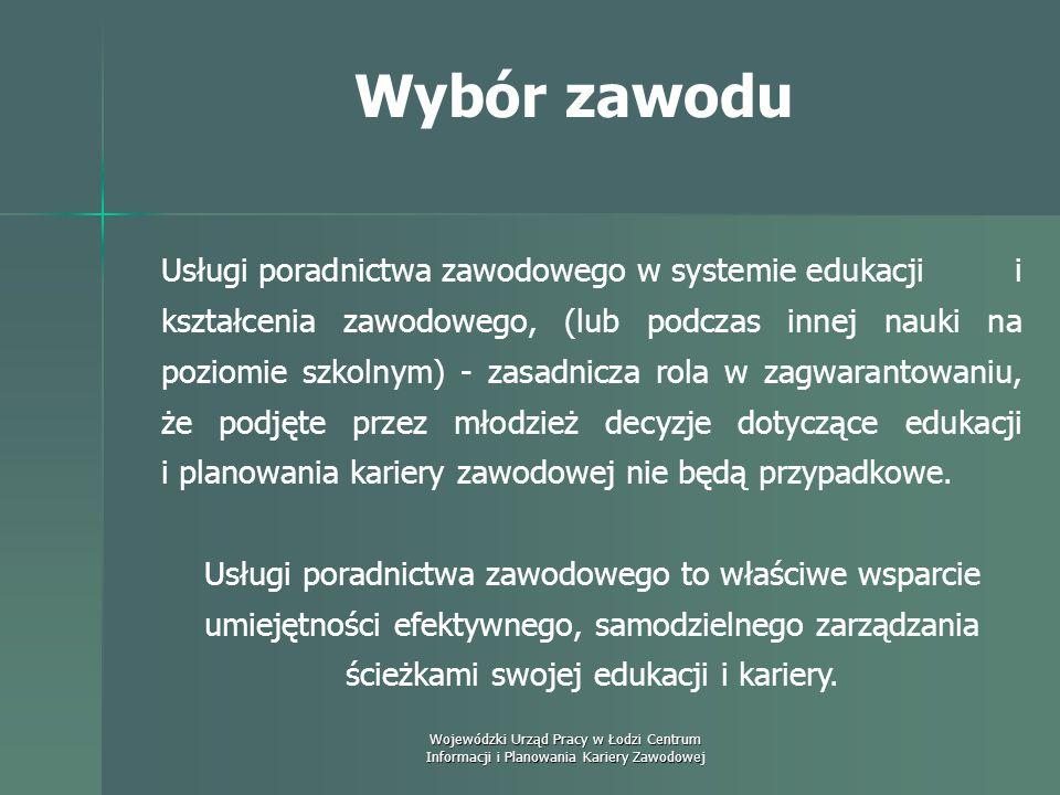 Wojewódzki Urząd Pracy w Łodzi Centrum Informacji i Planowania Kariery Zawodowej Wybór zawodu Podkreśla się również prewencyjną rolę poradnictwa zawod