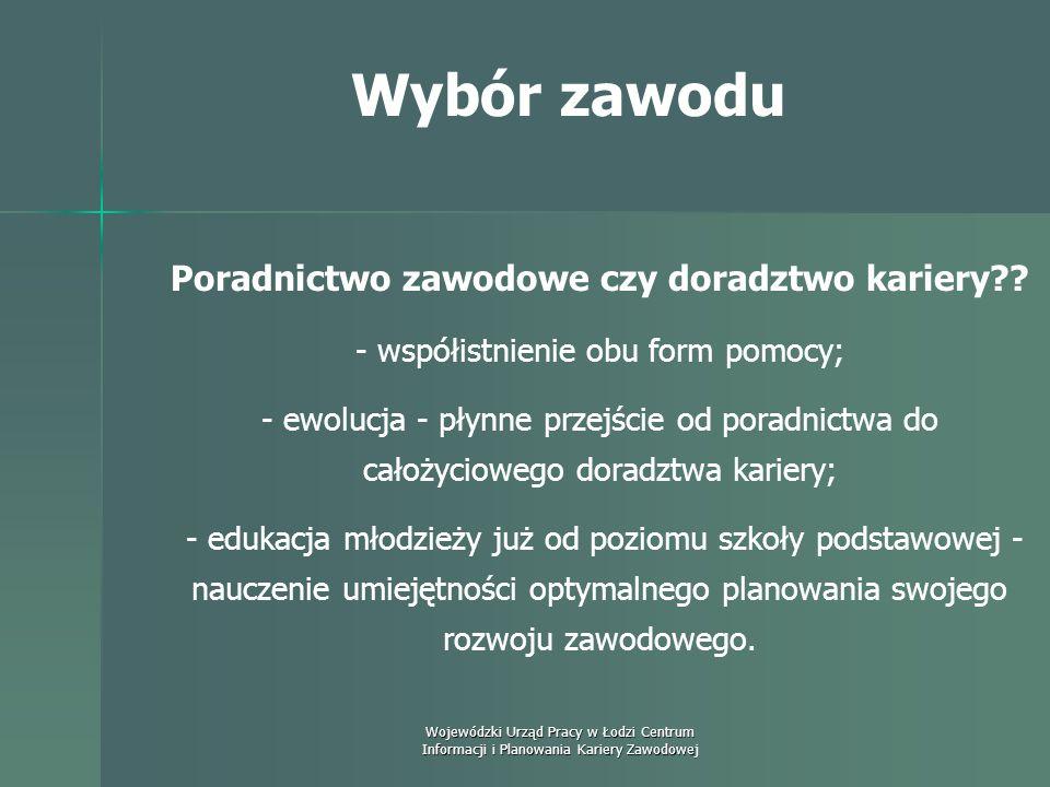 Wojewódzki Urząd Pracy w Łodzi Centrum Informacji i Planowania Kariery Zawodowej Wybór zawodu Nauka planowania swojego rozwoju zawodowego - by był on