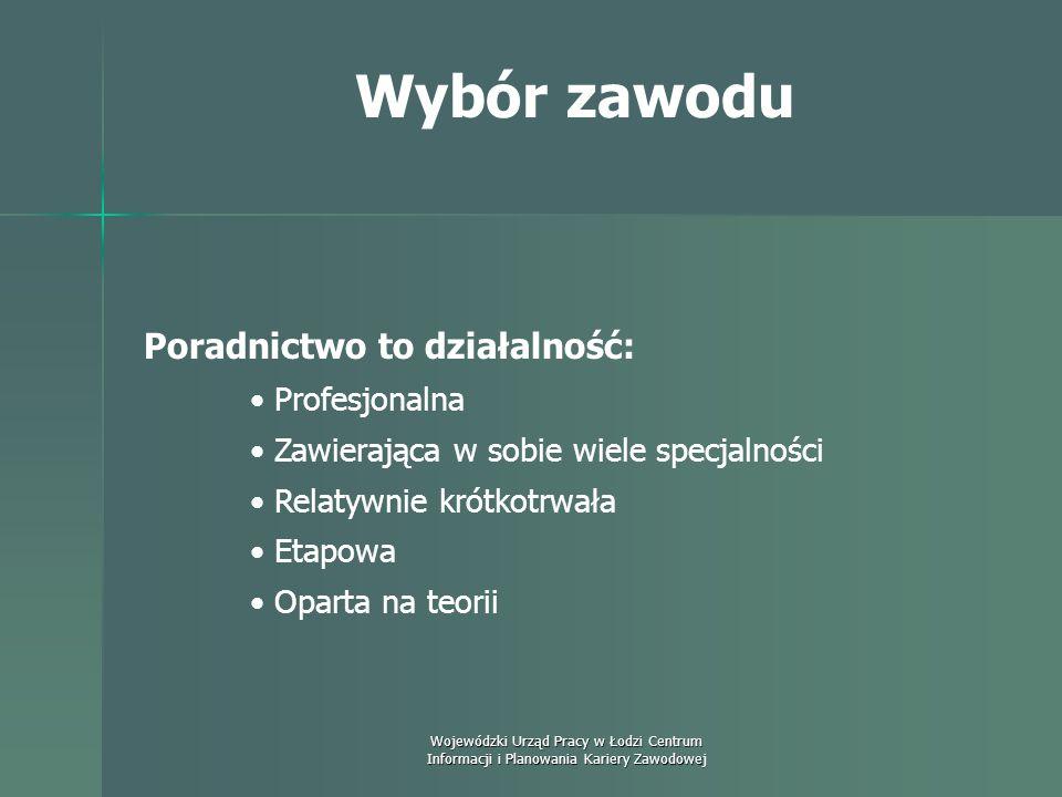 Wojewódzki Urząd Pracy w Łodzi Centrum Informacji i Planowania Kariery Zawodowej Wybór zawodu Podstawowe formy pomocy klientowi (wg Glenys Watt): - pr