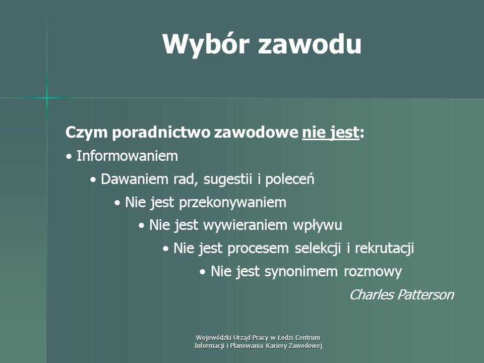 Wojewódzki Urząd Pracy w Łodzi Centrum Informacji i Planowania Kariery Zawodowej Wybór zawodu Istnieje sześć typów środowisk pracy.