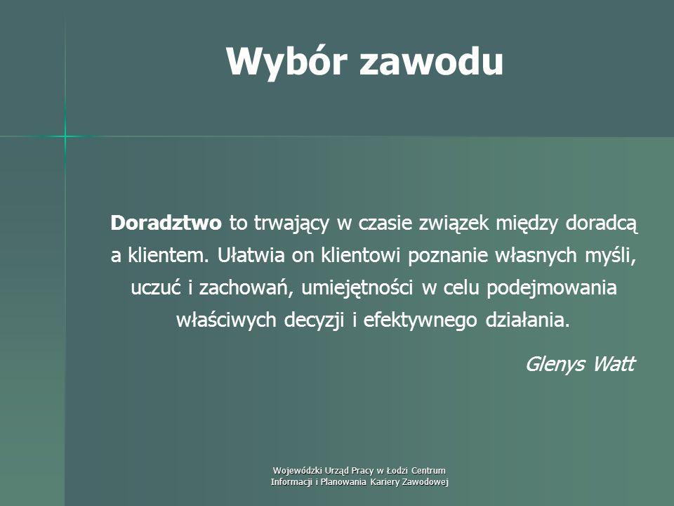 Wojewódzki Urząd Pracy w Łodzi Centrum Informacji i Planowania Kariery Zawodowej Wybór zawodu Doradztwo to trwający w czasie związek między doradcą a klientem.