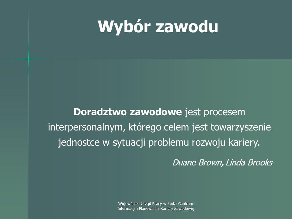 Wojewódzki Urząd Pracy w Łodzi Centrum Informacji i Planowania Kariery Zawodowej Wybór zawodu Doradztwo to trwający w czasie związek między doradcą a
