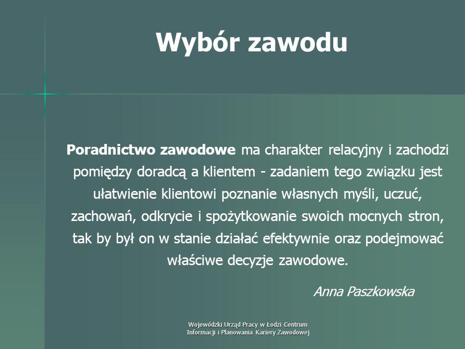 Wojewódzki Urząd Pracy w Łodzi Centrum Informacji i Planowania Kariery Zawodowej Wybór zawodu Doradztwo zawodowe jest procesem interpersonalnym, które