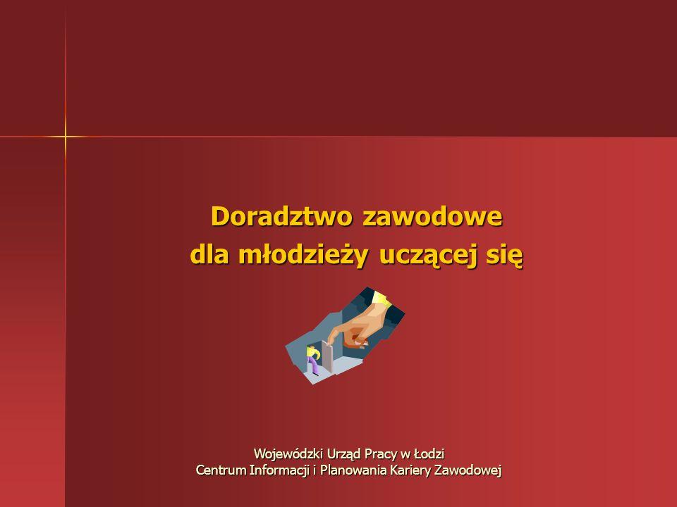 Doradztwo zawodowe dla młodzieży uczącej się Wojewódzki Urząd Pracy w Łodzi Centrum Informacji i Planowania Kariery Zawodowej