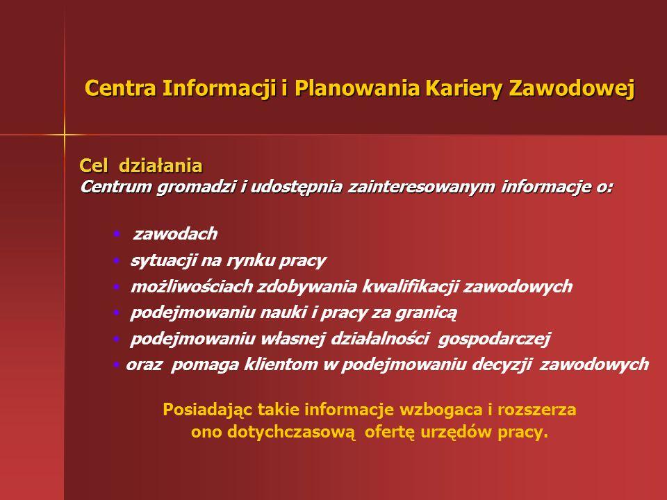 Poradnictwo zawodowe w resorcie pracy P P ubliczne Służby Zatrudnienia Centra Informacji i Planowania Kariery Zawodowej Wojewódzkich Urzędów Pracy Pow