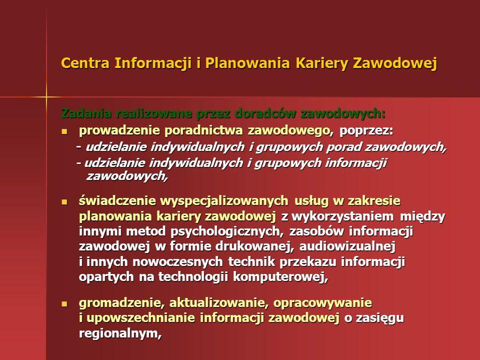 Cel działania Centrum gromadzi i udostępnia zainteresowanym informacje o: zawodach sytuacji na rynku pracy możliwościach zdobywania kwalifikacji zawod