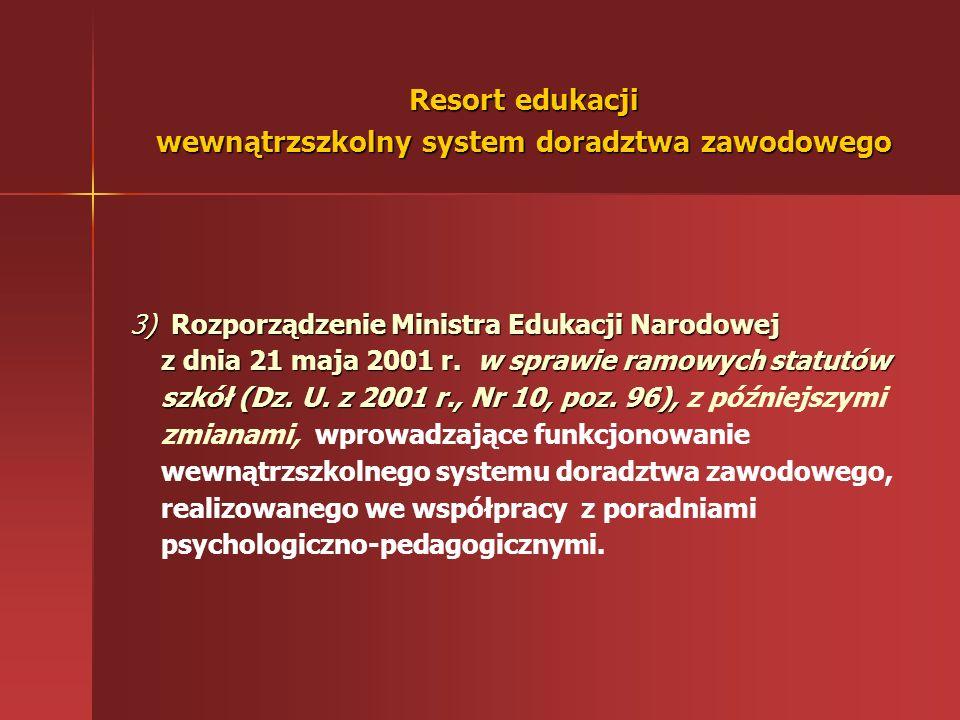 Zadania z zakresu udzielania uczniom pomocy w wyborze zawodu i kierunku kształcenia reguluje 1) Ustawa z dnia 7 września 1991r. o systemie oświaty 2)