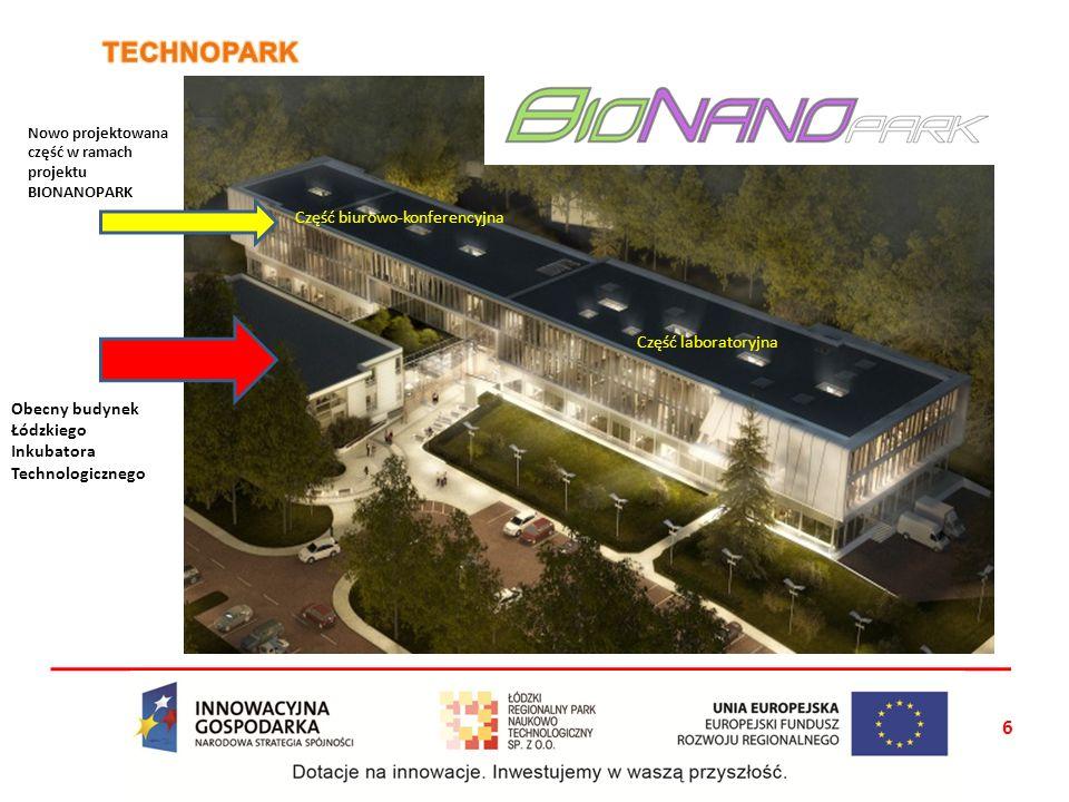 Obecny budynek Łódzkiego Inkubatora Technologicznego Nowo projektowana część w ramach projektu BIONANOPARK Część biurowo-konferencyjna Część laborator